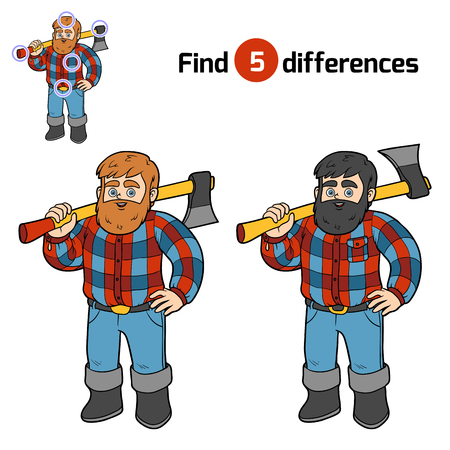 logging: Find differences, education game for children, Lumberjack Illustration