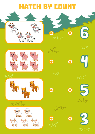 Counting Game for Preschool Children. Educational a mathematical game. Count farm animals in the picture and choose the right answer