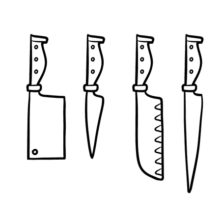 coloration: Coloring book for children, Set of knives