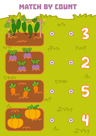 Counting Game for Preschool Children. Educational a mathematical game. Count vegetables in the picture and choose the right answer Illustration