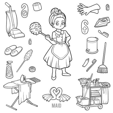 Dibujo Para Colorear Para Niños Limpieza Mop Ilustraciones