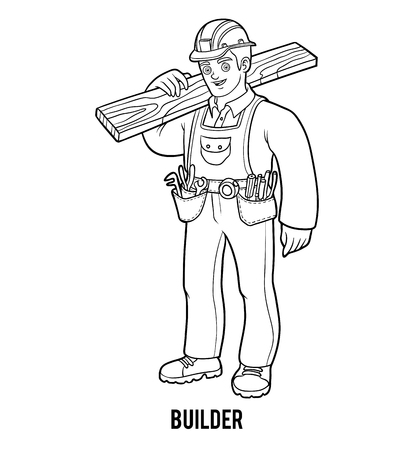 Coloring book for children, Builder