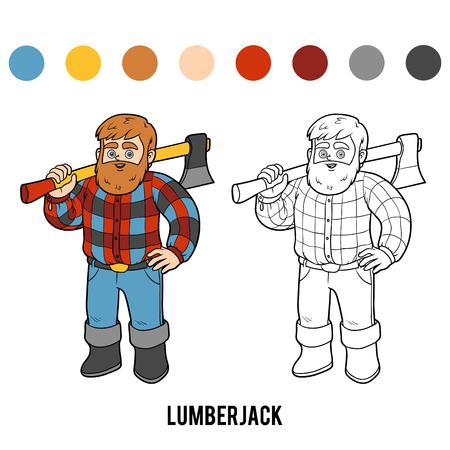 logging: Coloring book for children, Lumberjack Illustration