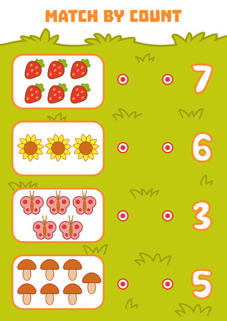 Counting Game for Preschool Children. Educational a mathematical game. Count objects in the picture and choose the right answer Illustration