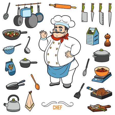 grater: Vector colorful set with chef and objects for cooking. Cartoon sticker set