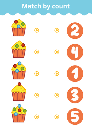 Counting Game for Preschool Children. Educational a mathematical game. Count the berries on the cakes and choose the right answer.
