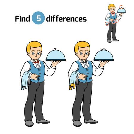 Find differences, education game for children, Waiter Illustration
