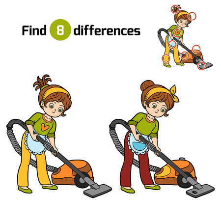 Find differences, education game for children, girl with vacuum cleaner