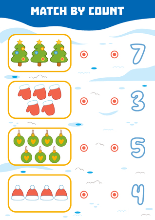 new addition: Counting Game for Preschool Children. Educational a mathematical game. Count Christmas objects in the picture and choose the right answer Illustration