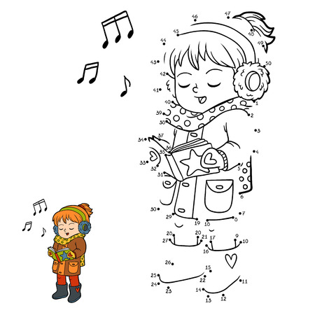 Numbers game, education dot to dot game for children, Girl singing a Christmas song Illustration