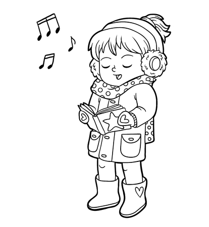 Livre de coloriage pour les enfants, fille chantant une chanson de Noël