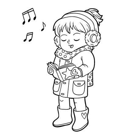 Malbuch für Kinder, Mädchen singt ein Weihnachtslied