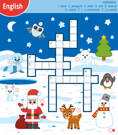 Vector colorful crossword in English, education game for children about winter animals and Christmas