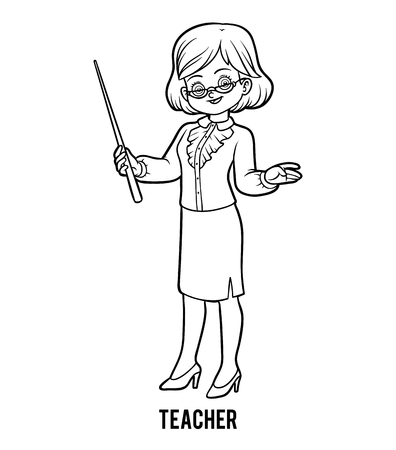 Coloring book for children, Teacher Illustration