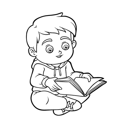 Coloring book for children, Young boy reading a book Illustration