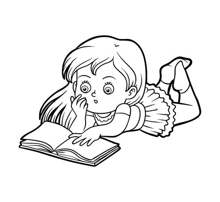 Libro Para Colorear Para Niños, Niña Leyendo Un Libro Ilustraciones ...