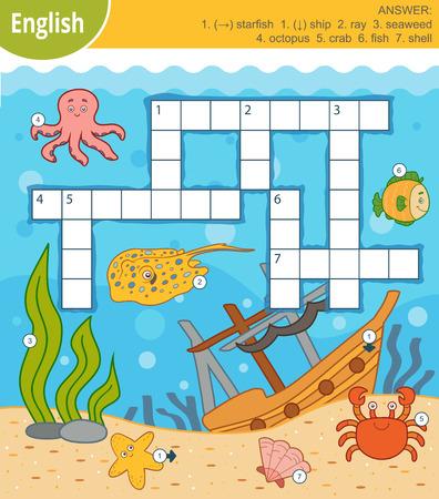 Mots croisés colorés de vecteur en anglais, jeu d'éducation pour les enfants sur le monde sous-marin et les animaux marins Vecteurs