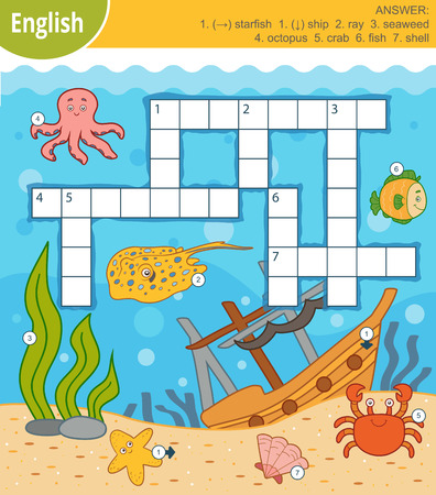 Vector colorful crossword in English, education game for children about the underwater world and sea animals