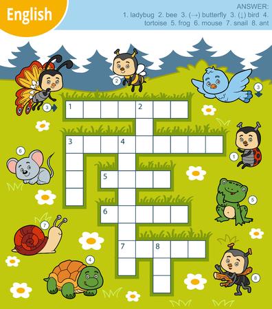 Vector kleurrijk kruiswoordraadsel in het Engels, onderwijsspel voor kinderen over dieren Stock Illustratie