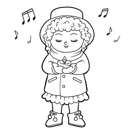 Dibujo Para Colorear Para Ninos Chica Cantando Una Cancion De