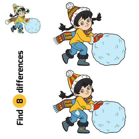guess: Find differences, education game for children, Girl and a ball of snow