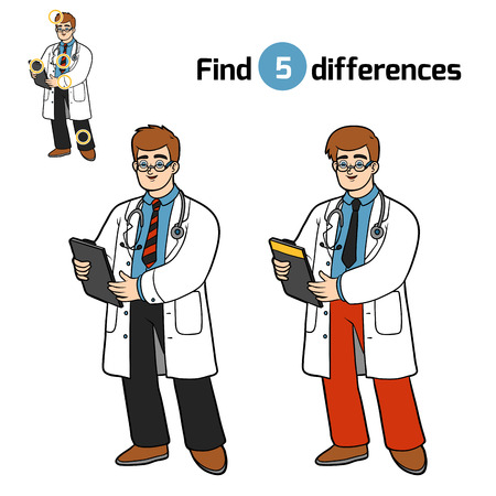 Find differences, education game for children, Doctor Illustration