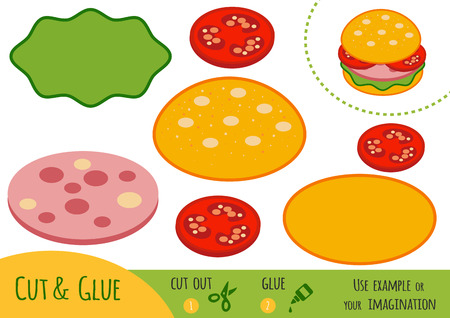 Education paper game for children, Burger. Use scissors and glue to create the image. Illustration