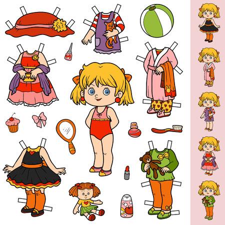 カラフルなベクトルセット、かわいい紙人形や洋服  イラスト・ベクター素材