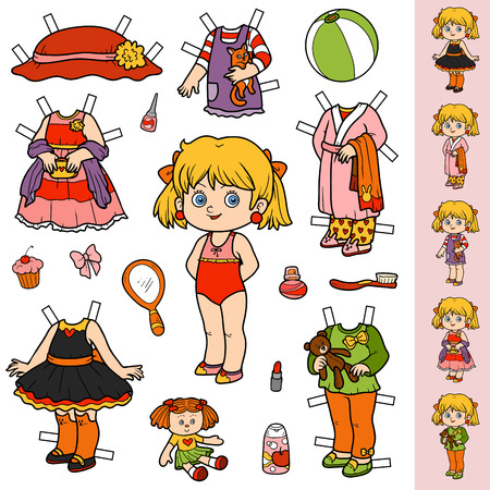 Colorful vector set, cute paper doll and clothes