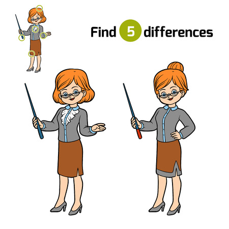Find differences, education game for children, Teacher