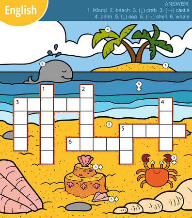 Colorful crossword in English, education game for children about sea and animals Illustration