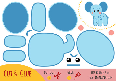Education paper game for children, Elephant. Use scissors and glue to create the image.
