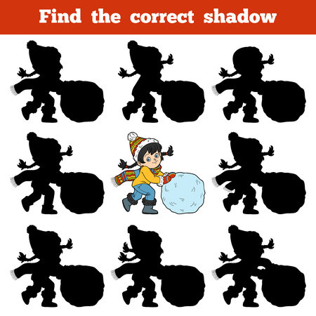 Find the correct shadow, education game for children, Girl and a ball of snow Ilustração