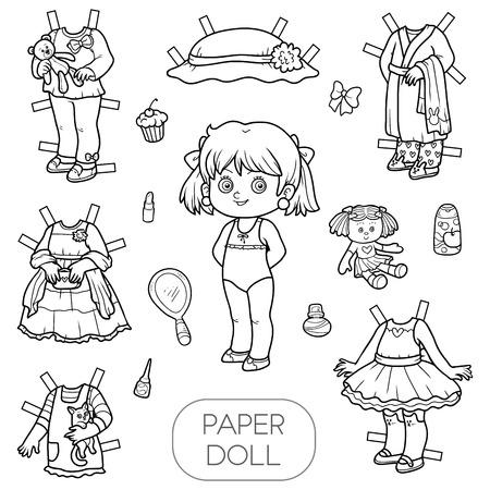 黒と白のベクトルのセット、かわいい紙人形と服