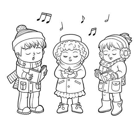 Coloring book for children, Kids Christmas Choir Illustration