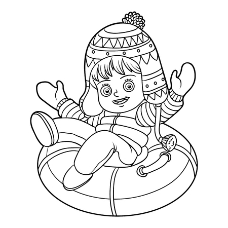 Coloring book for children, Happy girl riding on the tubing, inflatable sled