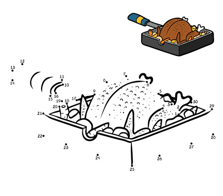Numbers game, education dot to dot game for children, Roasted Chicken in a frying pan Illustration