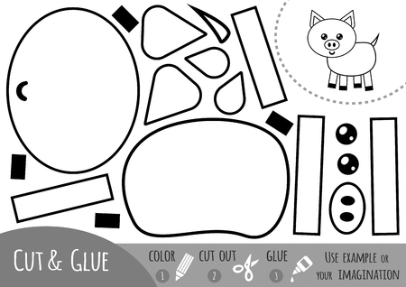 Education paper game for children, Pig. Use scissors and glue to create the image.