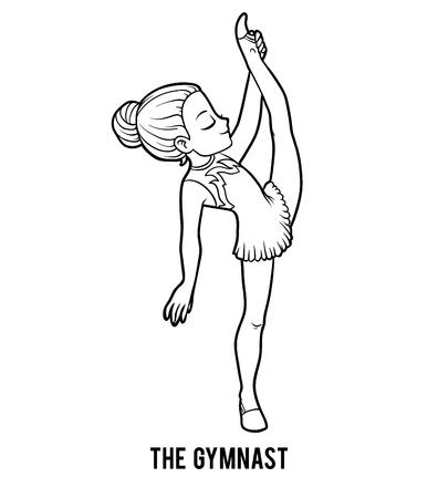 Libro da colorare per bambini, la ragazza ginnasta Vettoriali