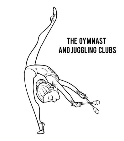 Livre de coloriage pour les enfants, Les clubs de gymnaste et de jonglerie Vecteurs