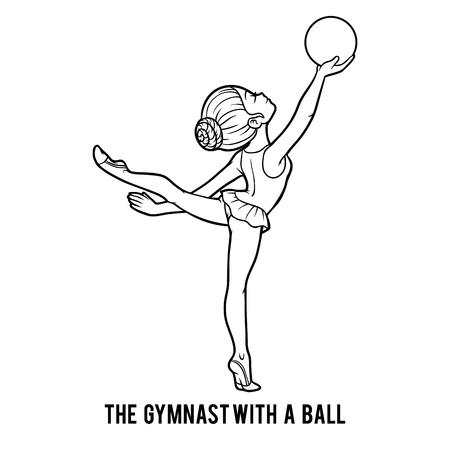 Livre de coloriage pour les enfants, La gymnaste avec une balle