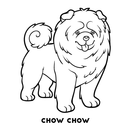 Coloring book for children, Dog breeds: Chow chow