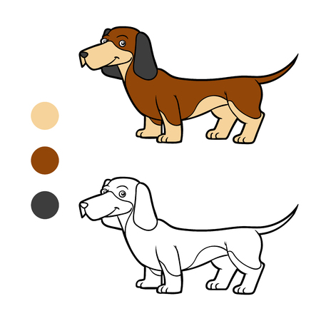 Coloring book for children, Dog breeds: Dachshund Illustration