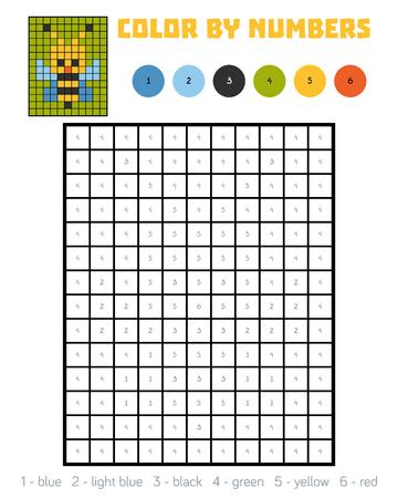 Color Por Número, Juego De Educación Para Niños, Bee Ilustraciones ...