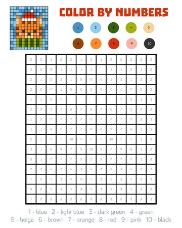 Color Para El Número Del Juego Para Los Niños Ilustraciones ...