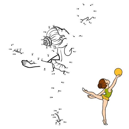 Connect the numbers game for kids; dot-to-dot activity worksheet for kids with gymnast design.