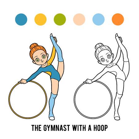Libro de colorear para niños, El gimnasta con un aro
