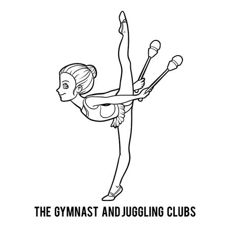 Livre de coloriage pour les enfants, Les clubs de gymnaste et de jonglerie Banque d'images - 88324224