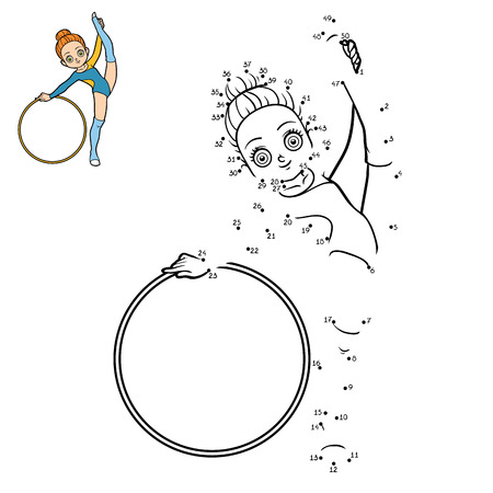 Numbers game, education dot to dot game for children, The gymnast with a hoop