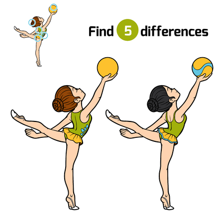 Find differences, education game for children, The gymnast with a ball